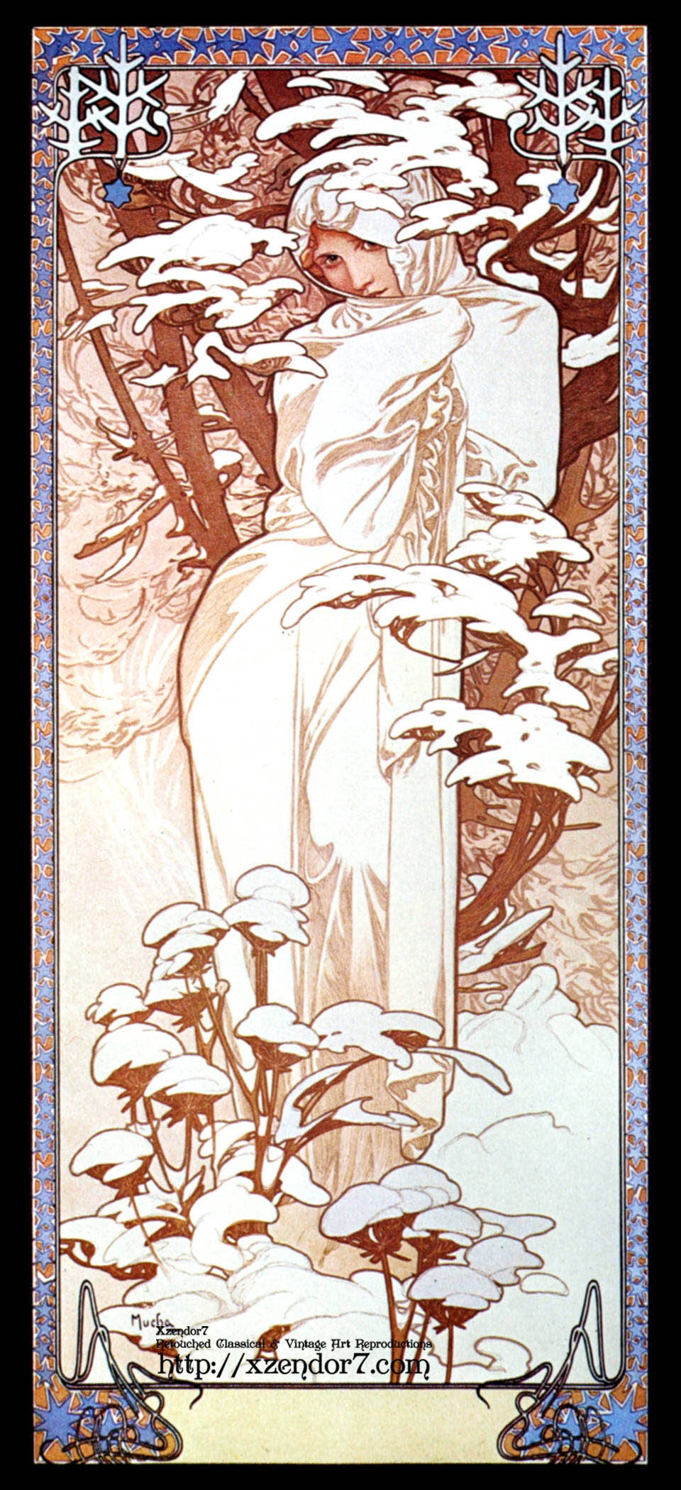 Alphonse Mucha - Winter II Black Border