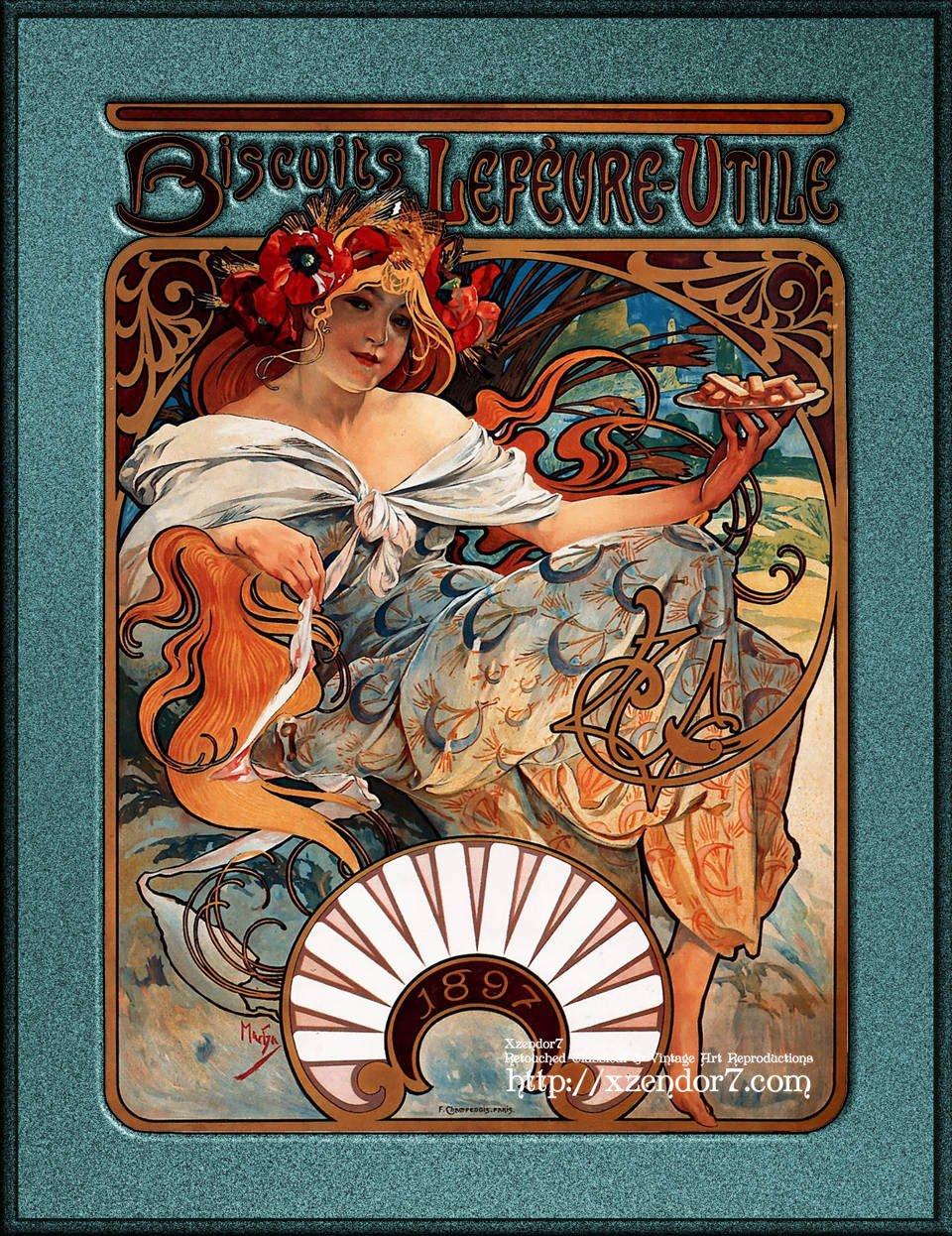 Art Nouveau Design Movement - Alphonse Mucha Biscuits Lefevre-Utile Speckled Frame Version