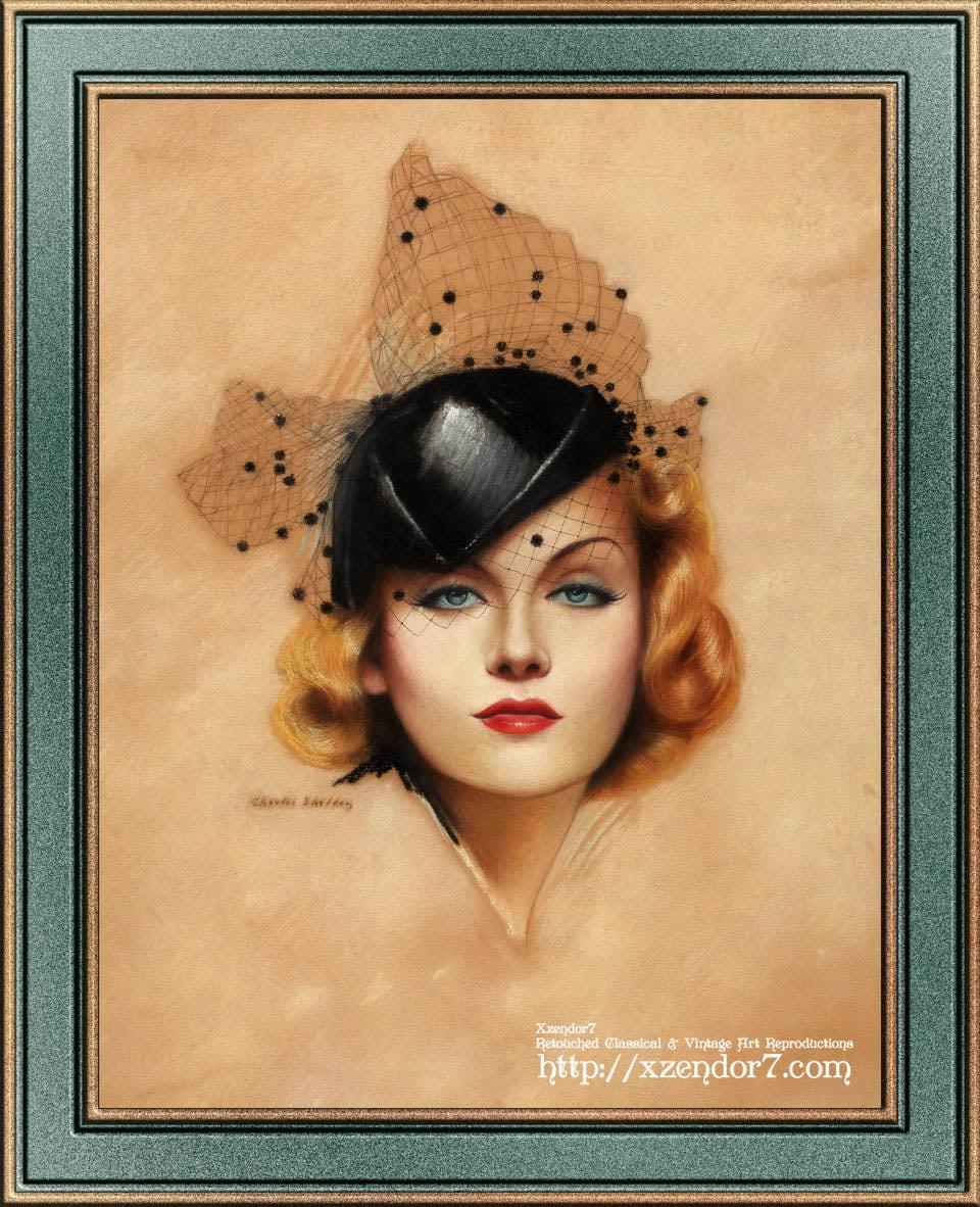 Carole Lombard Art Nouveau Portrait by Charles Gates Sheldon