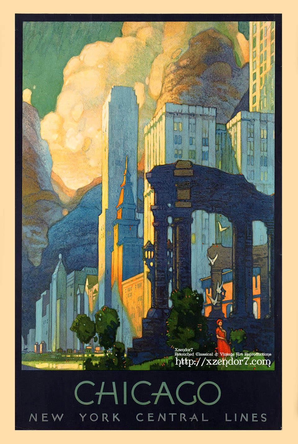 Art Deco Chicago Vintage Travel Poster