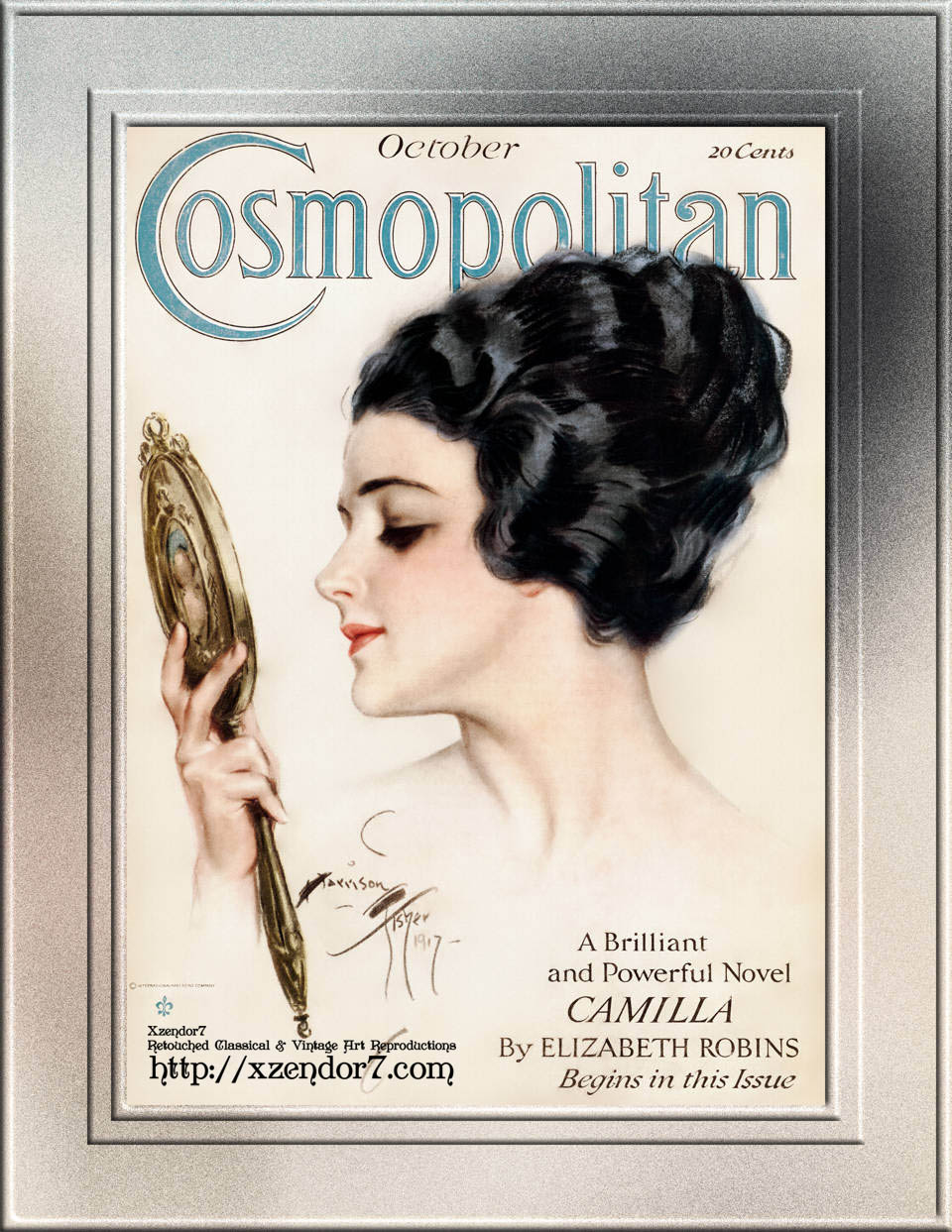 Cosmopolitan Front Cover October 1917 by Harrison Fisher