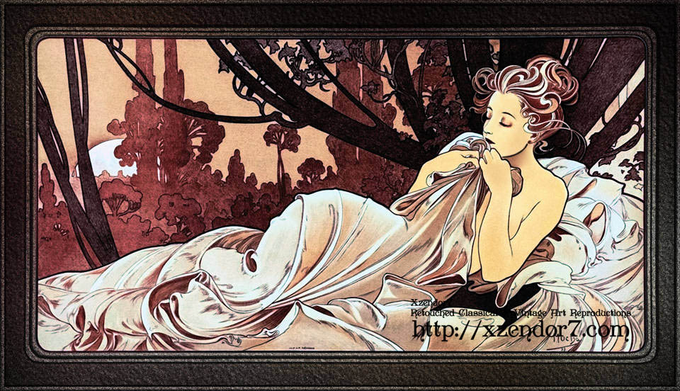 Dusk by Czech Painter Alphonse Mucha