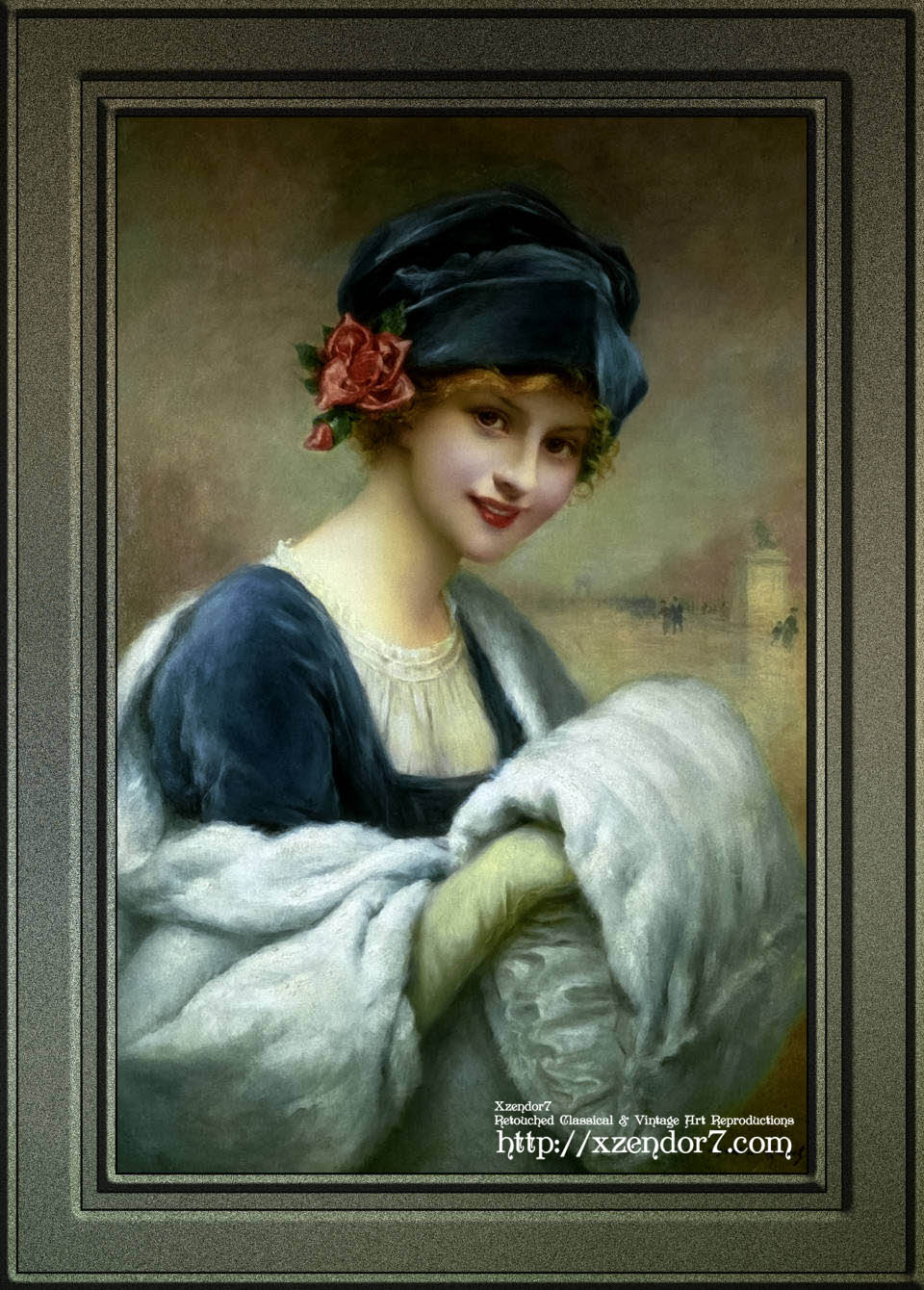 Girl With A Fur Muff by Francois Martin-Kavel