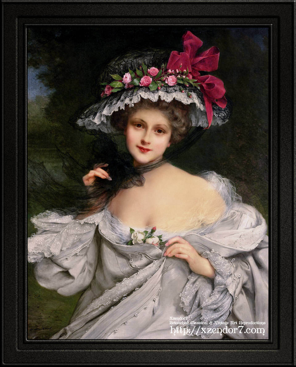 Young Beauty With A Red Ribbon Hat by Francois Martin-Kavel