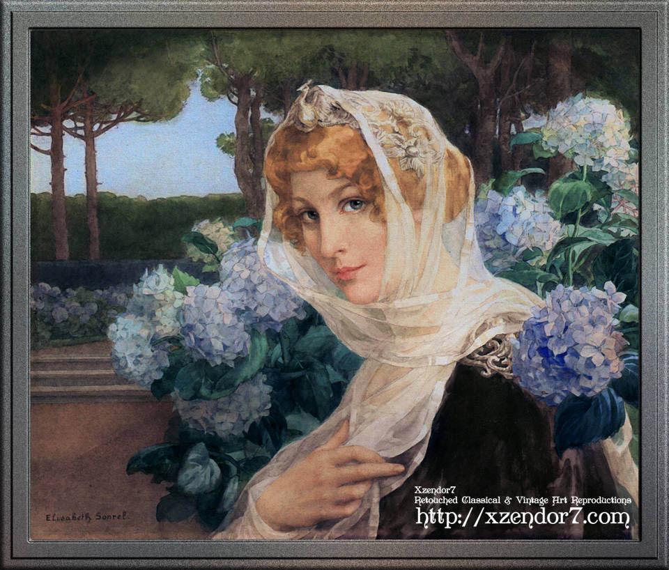 Young Woman with Hydrangeas by Élisabeth Sonrel