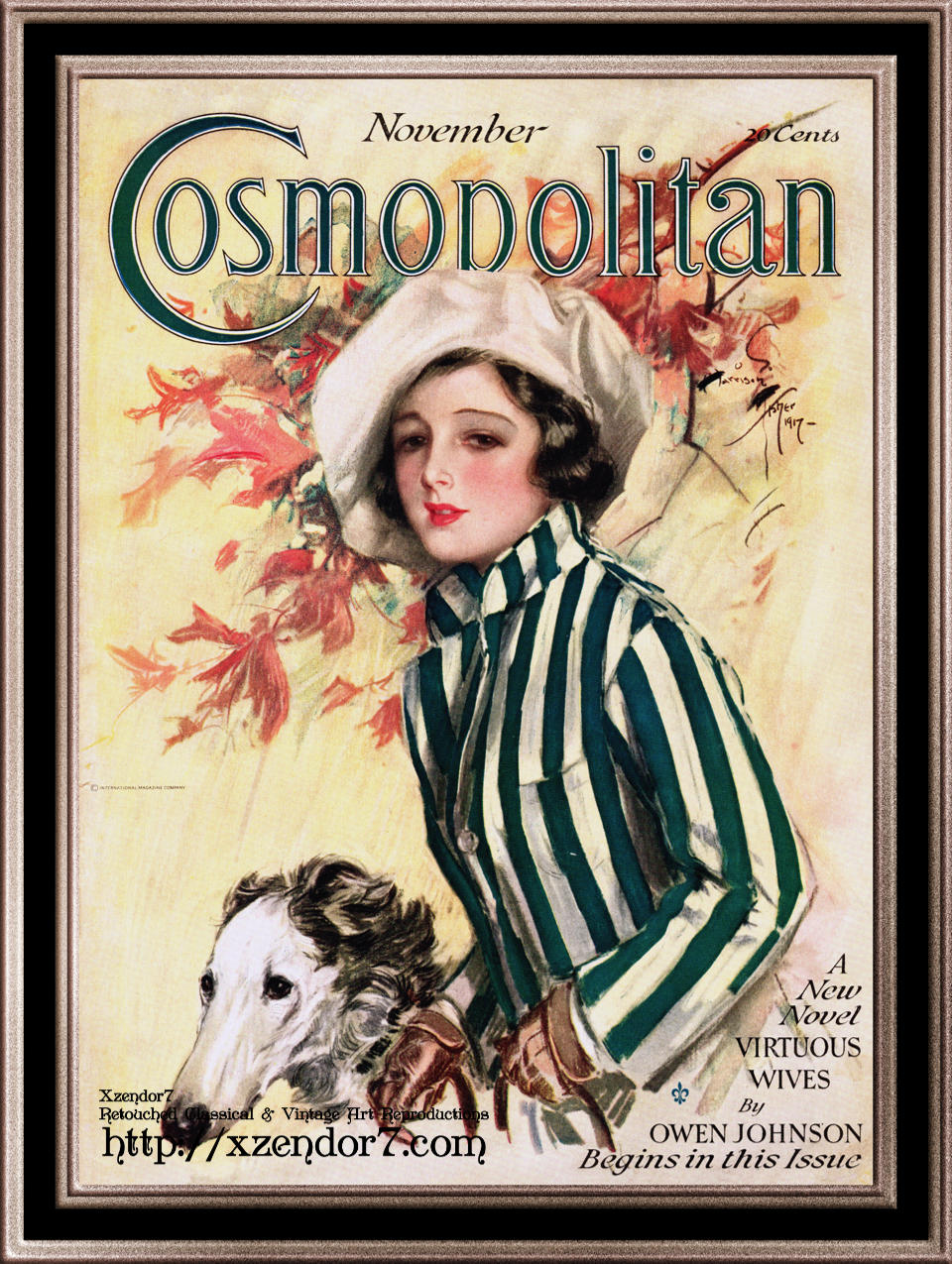 Cosmopolitan Front Cover November 1917 by Harrison Fisher