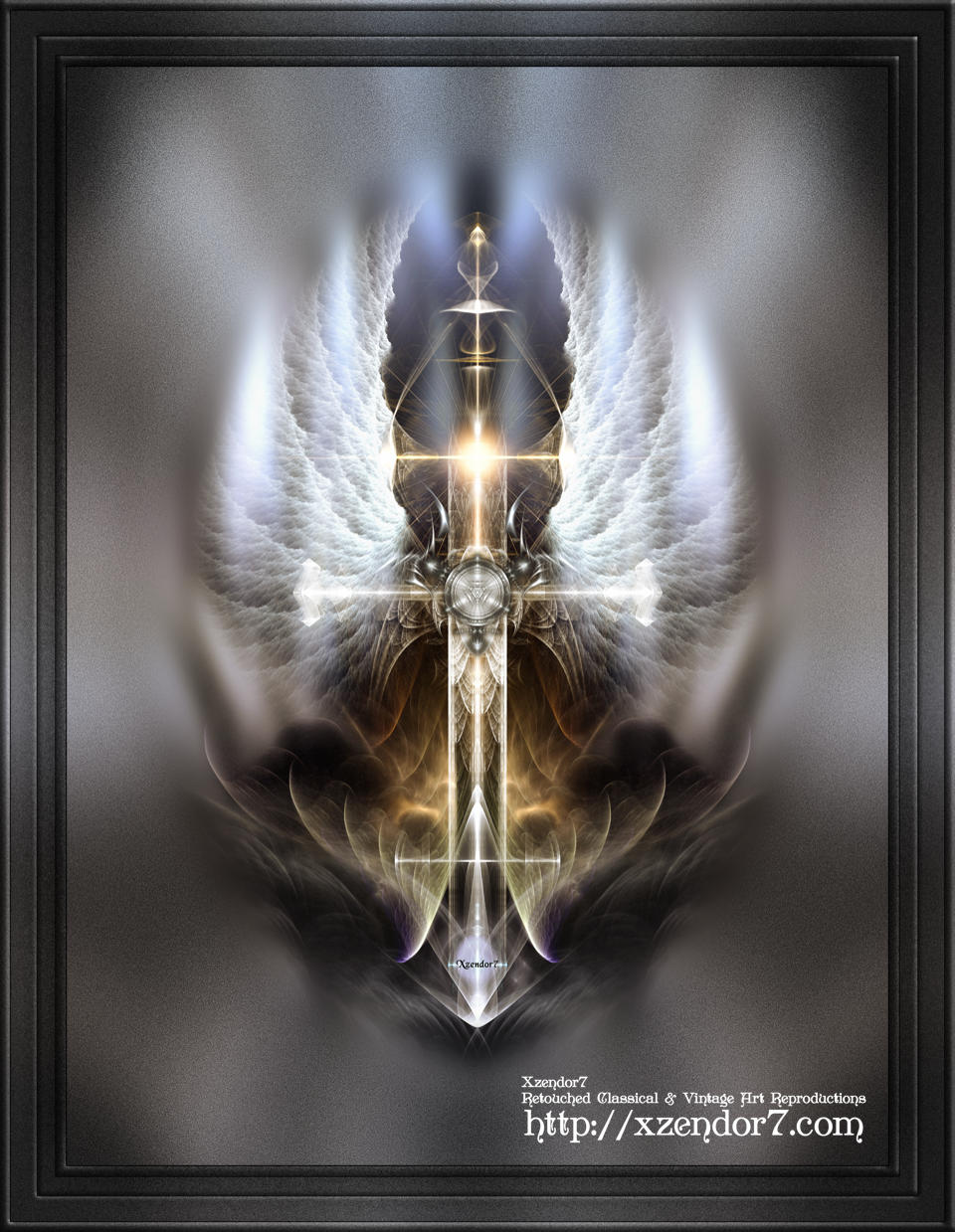 Heavenly Angel Wing Cross Vintage Satin Fractal Art