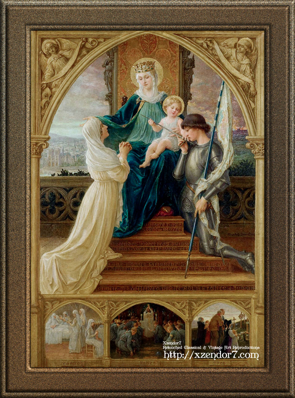 Madonna and Child Seated Between St. Genevieve and Joan Of Arc by Élisabeth Sonrel