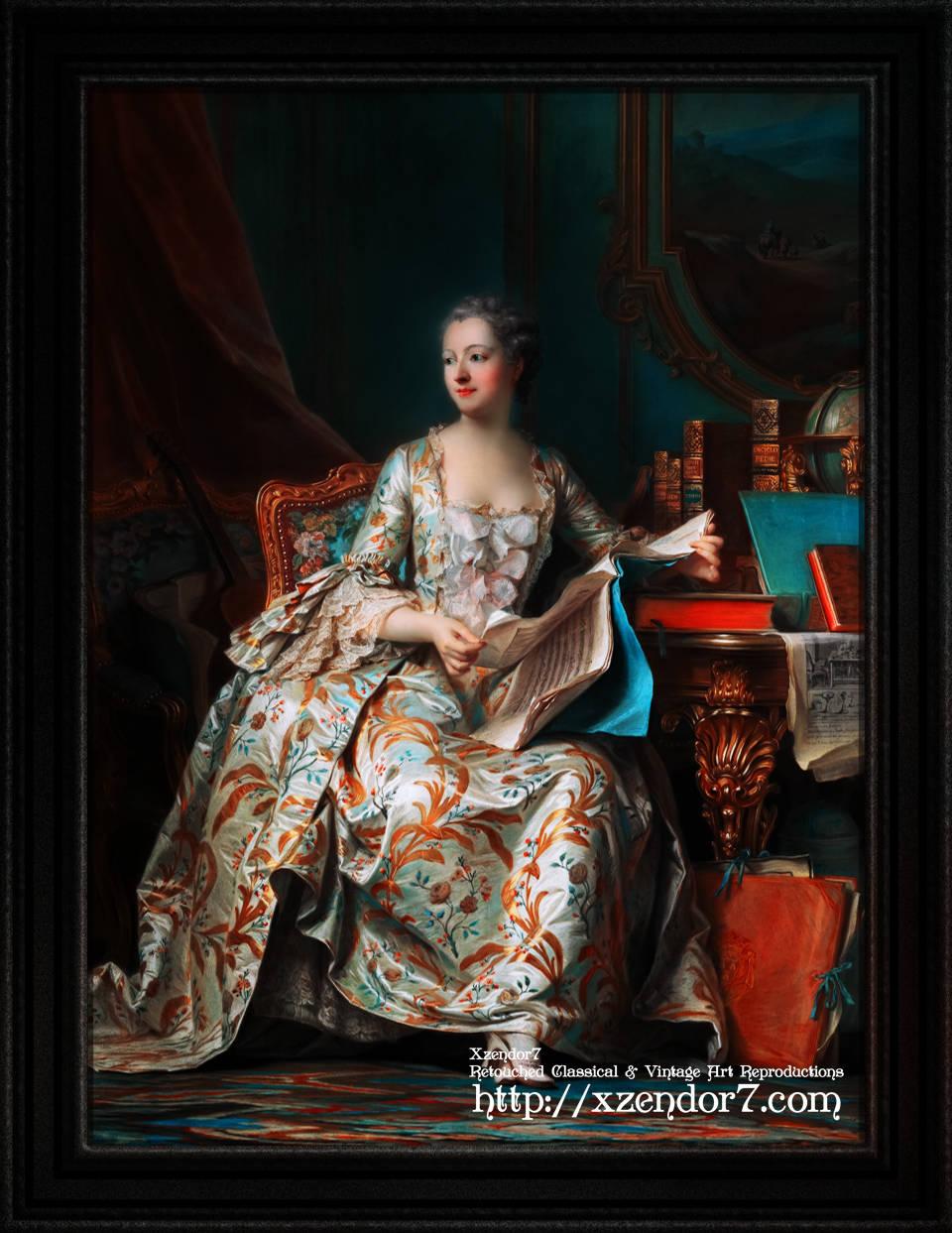 Madame de Pompadour In Her Study by Maurice Quentin de La Tour
