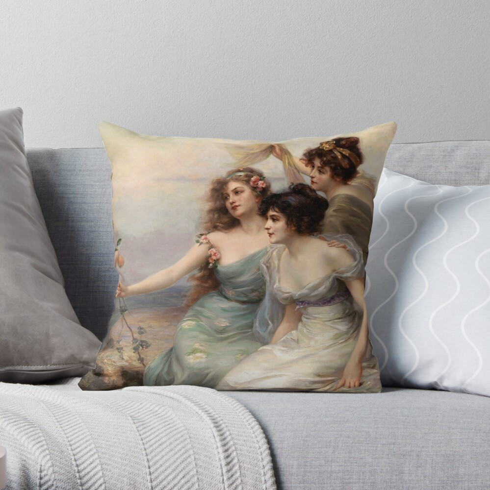 The Three Graces by Edouard Bisson Throw Pillow