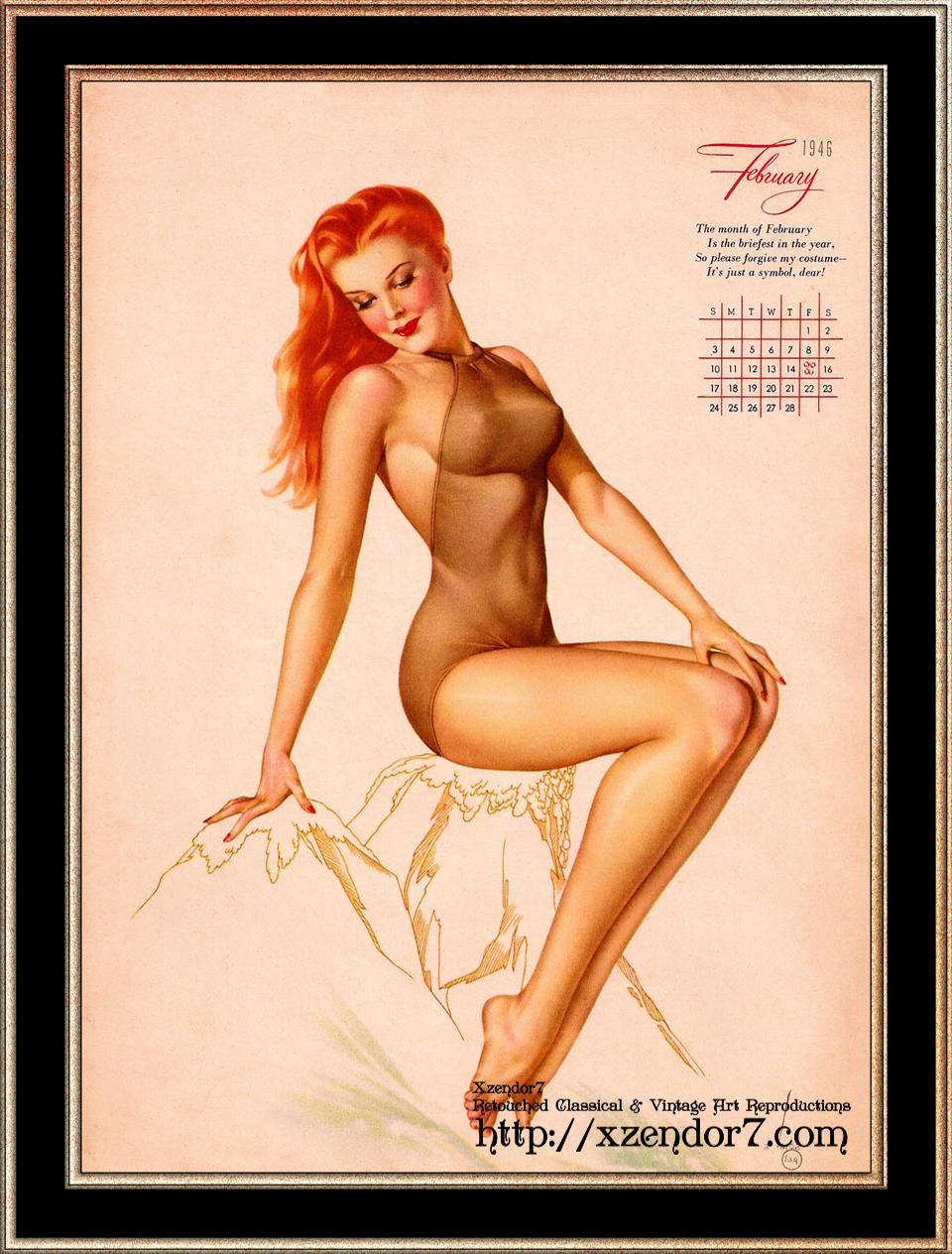 Miss February Varga Girl 1946 Pin-up Calendar by Alberto Vargas