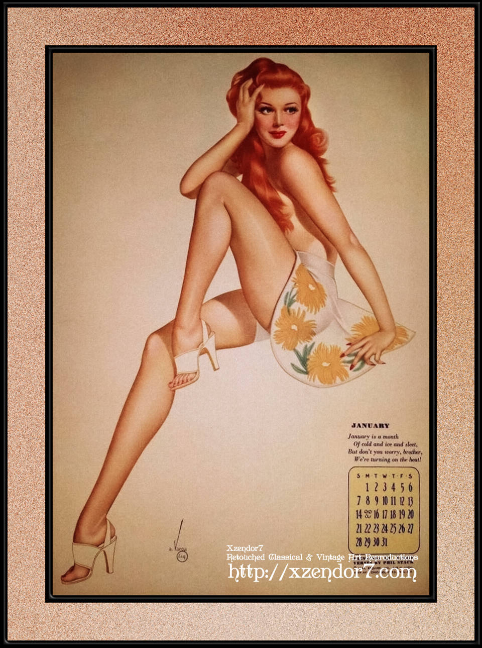 Miss January Varga Girl 1944 Pin-up Calendar by Alberto Vargas