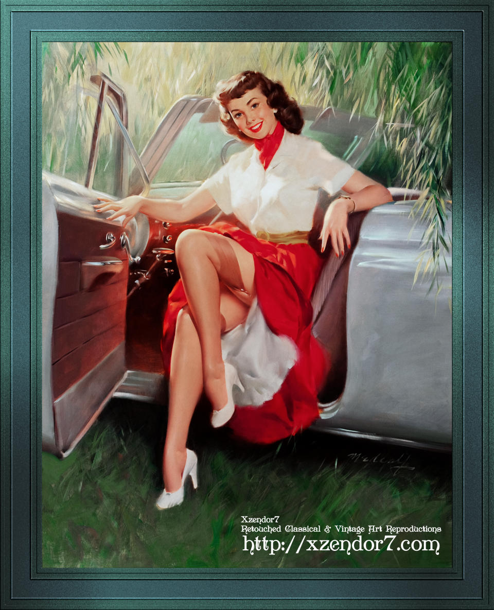 Nice Day For A Drive Pin-up Girl by Bill Medcalf