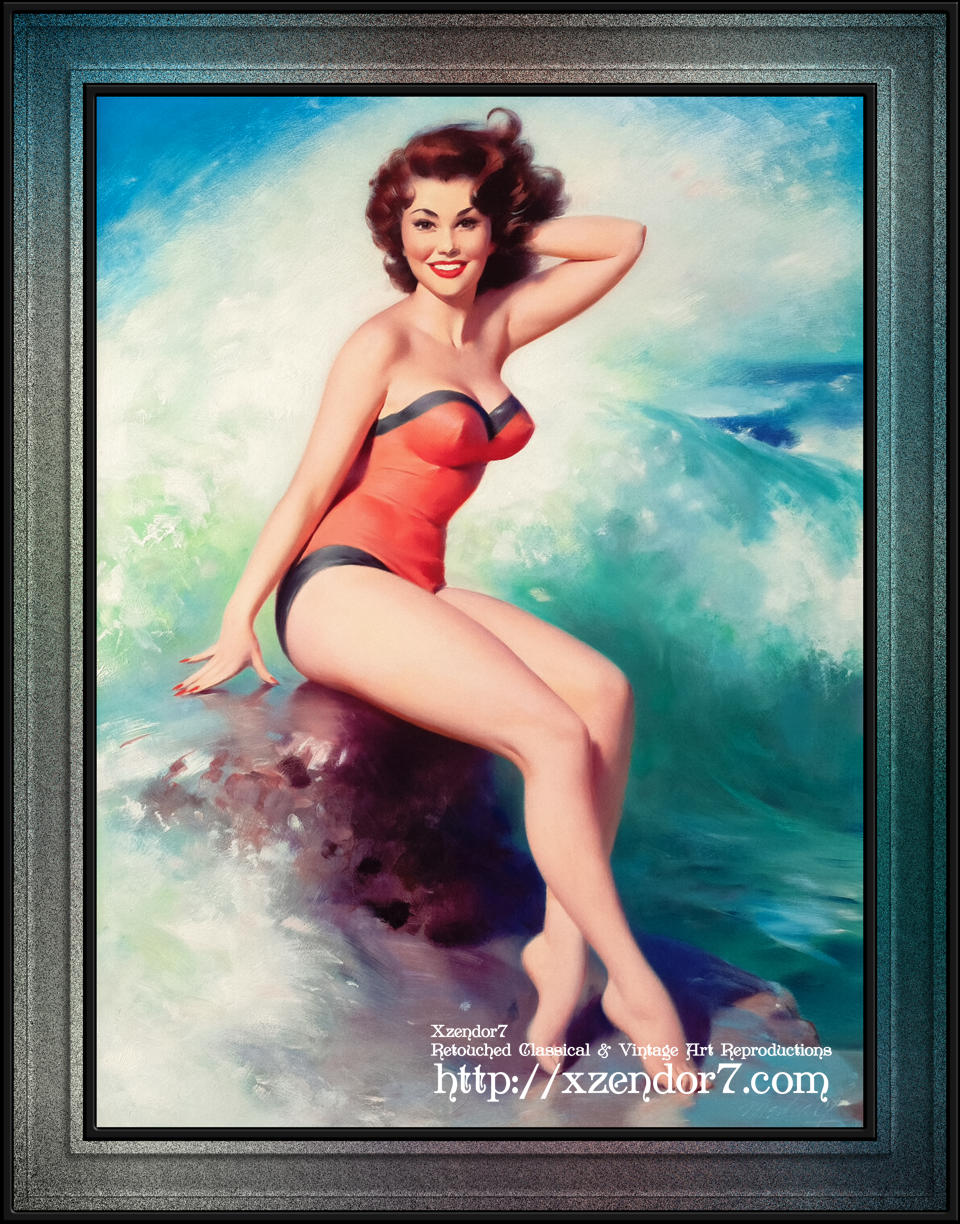 Pin-up Girl Posing By The Surf by Bill Medcalf