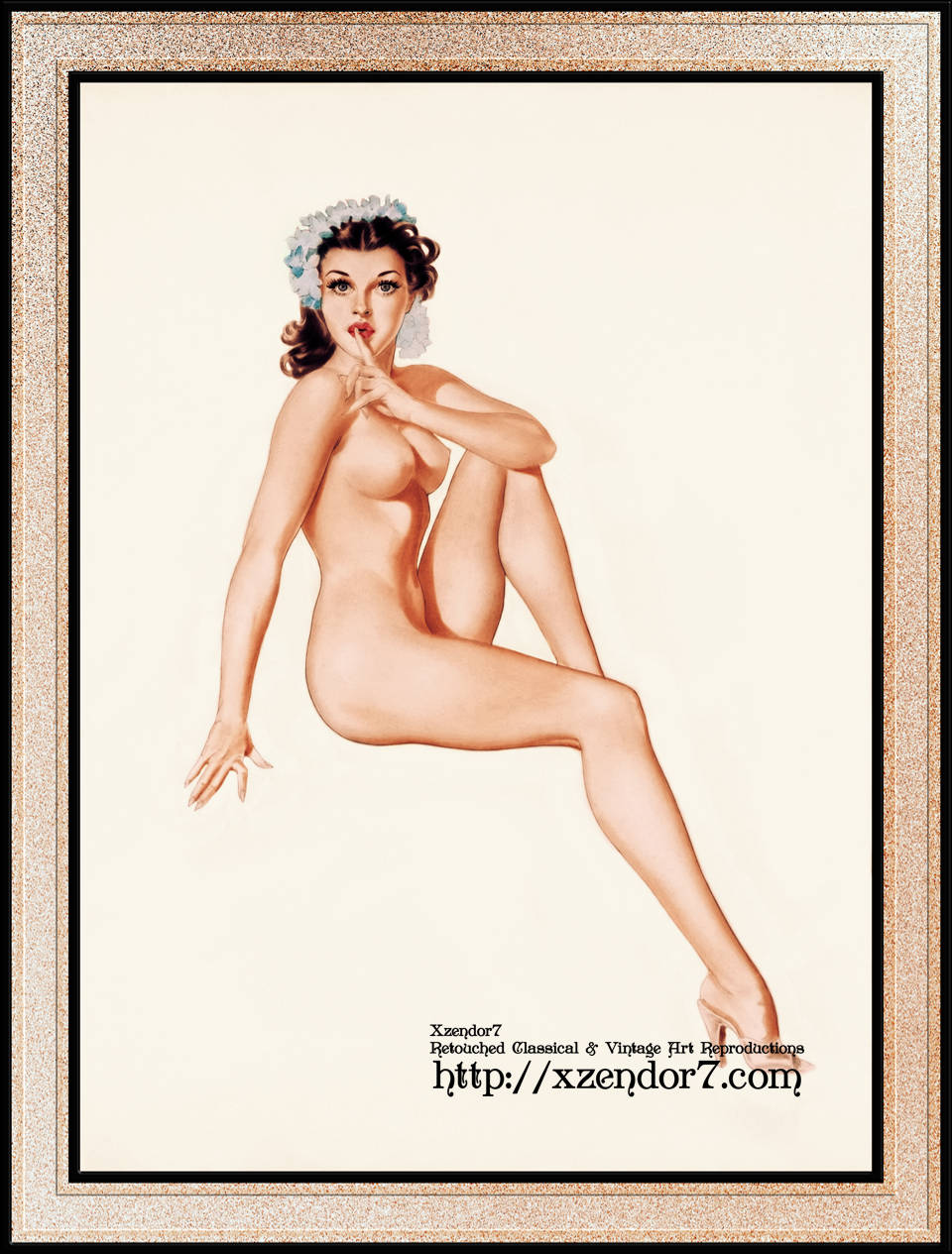 Brunette Pinup Girl With Blue Flowers On Her Head by Alberto Vargas