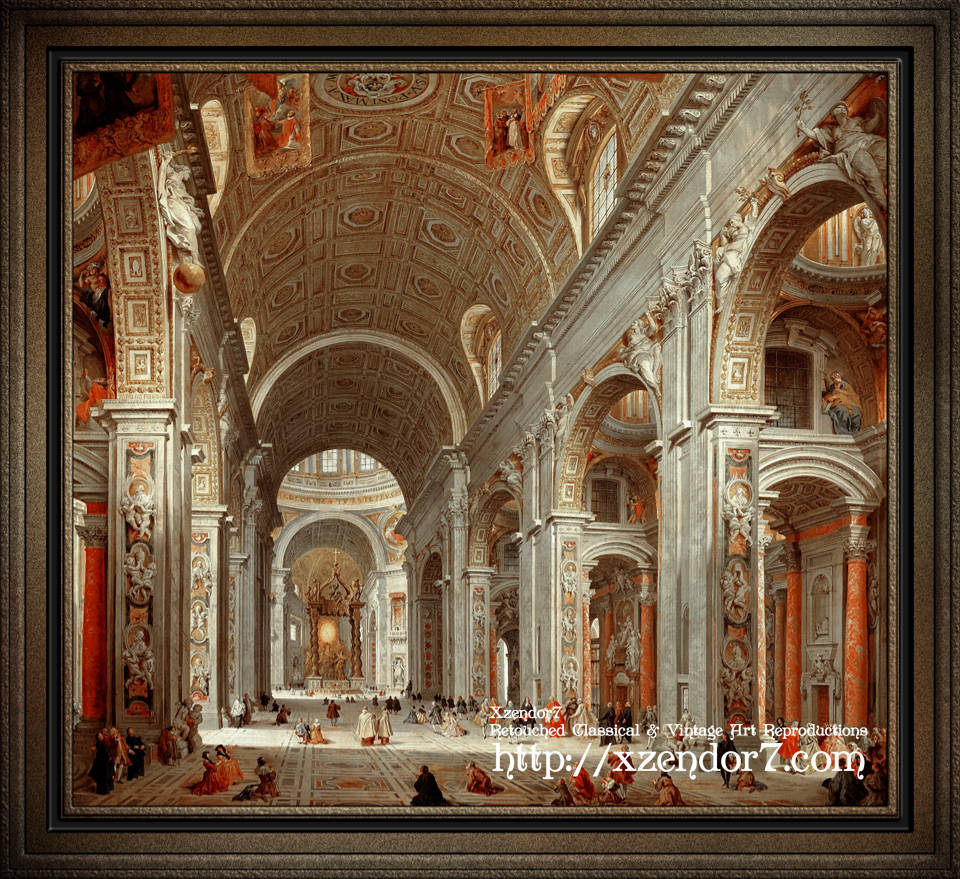 Interior View of St. Peter's Basilica by Giovanni Paolo Pannini