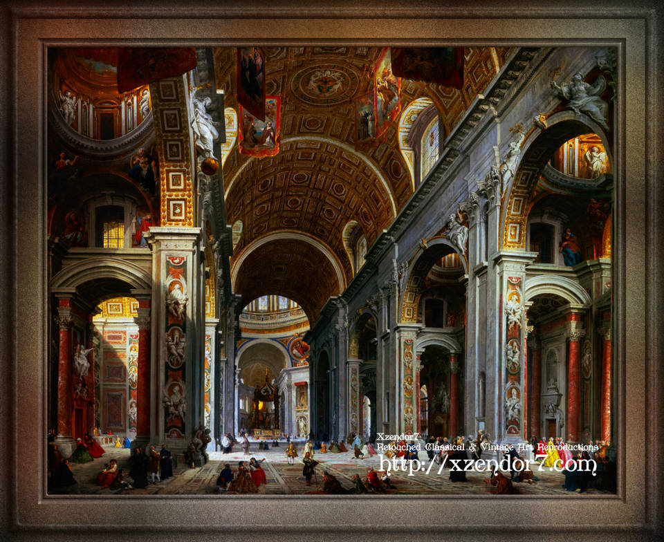 Interior of St. Peter's Basilica, Rome by Giovanni Paolo Panini
