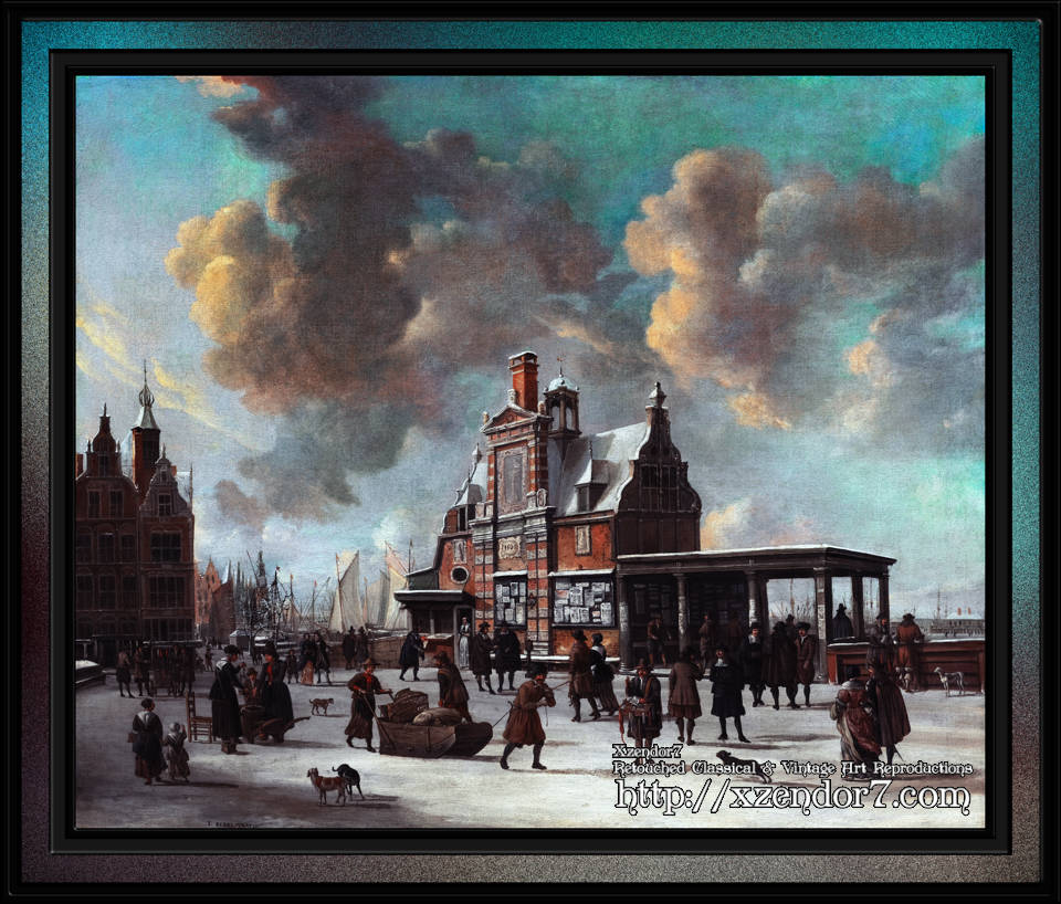The Paalhuis and the Nieuwe Brug, Amsterdam, in the Winter by Jan Abrahamsz Beerstraaten