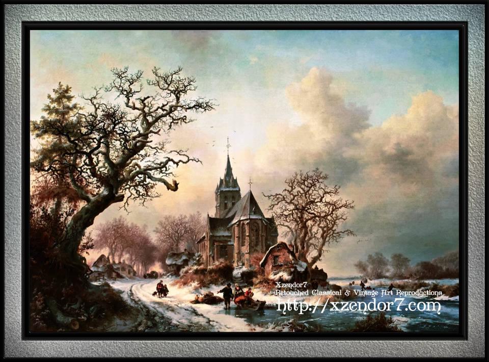 A Winter Landscape with Activities around a Village by Frederik Marinus Kruseman