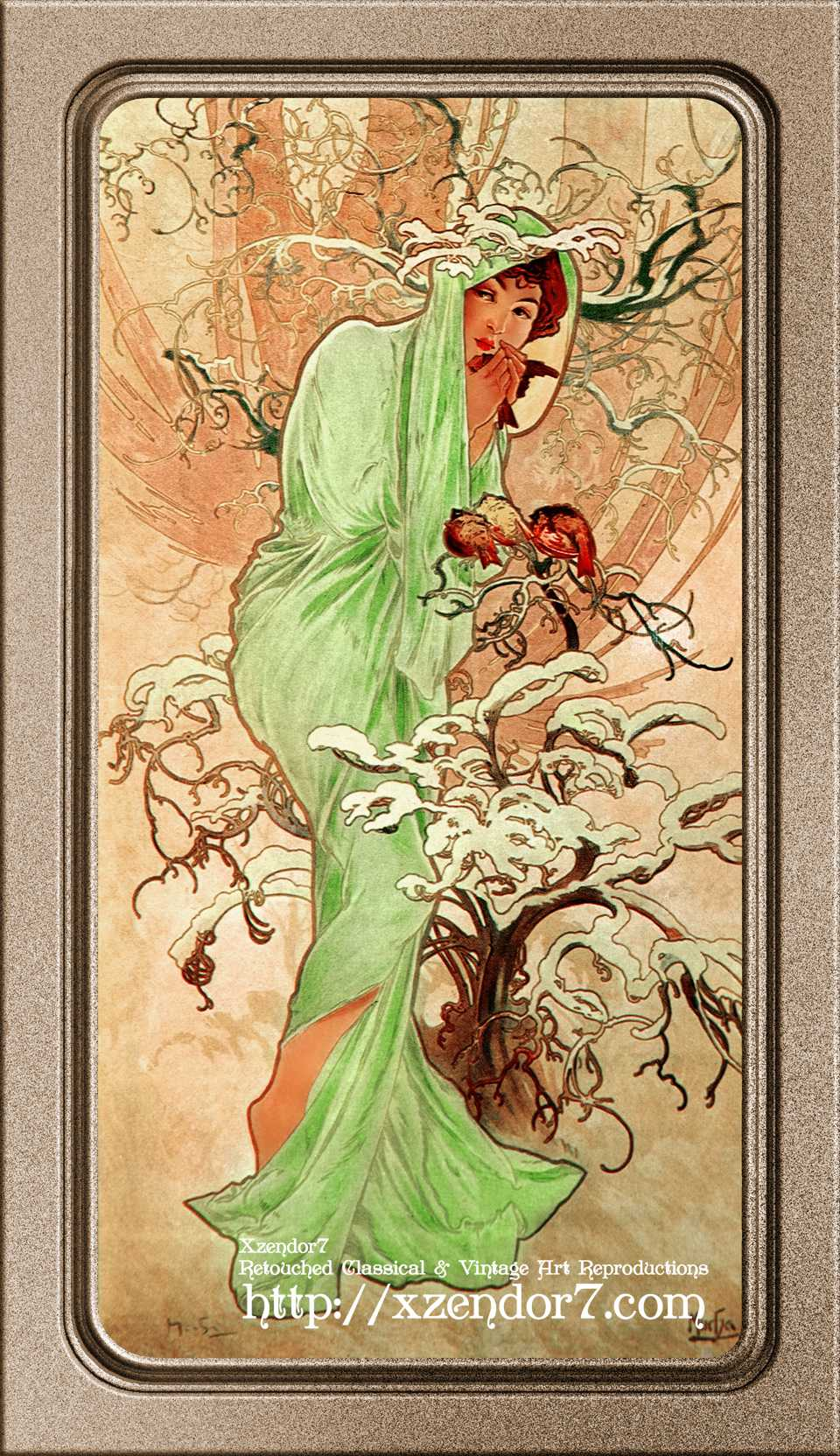 Winter In A Green Cape by Alphonse Mucha