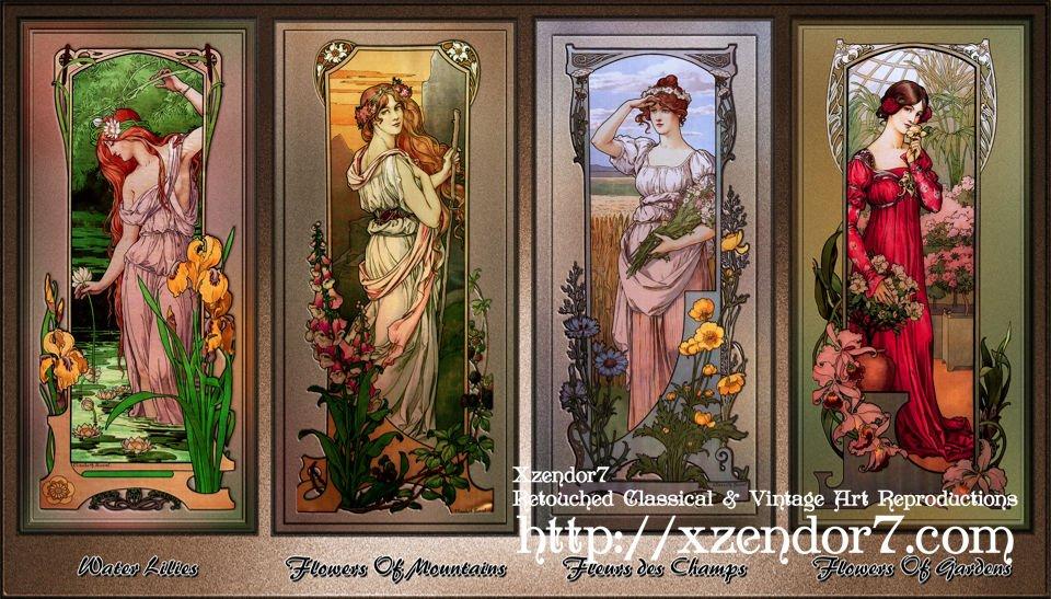 Art Nouveau Flower Series by Élisabeth Sonrel
