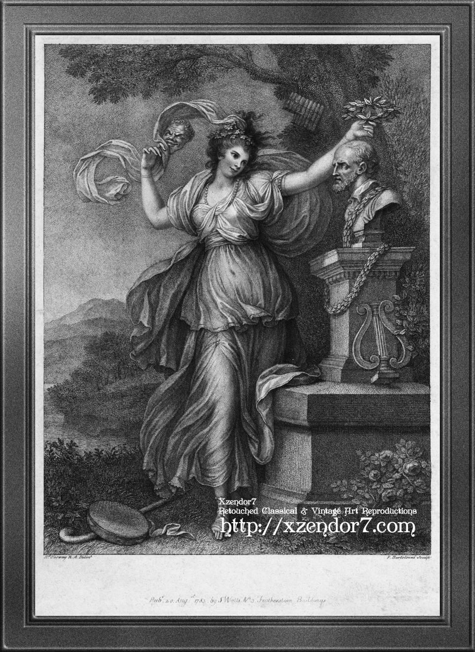 Mrs. Abington as Thalia by Engraver Francesco Bartolozzi