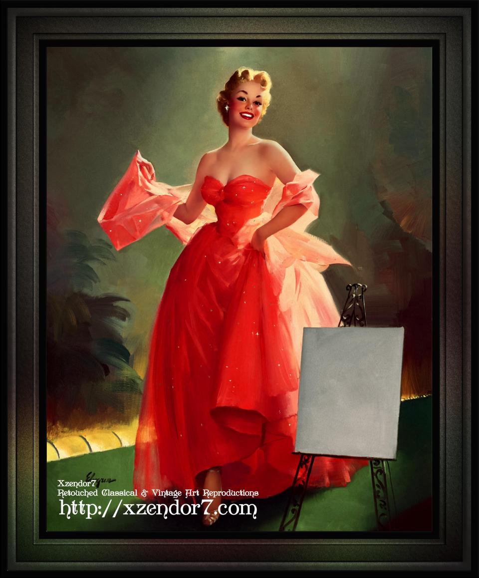 Runway Model In A Pink Dress by Gil Elvgren