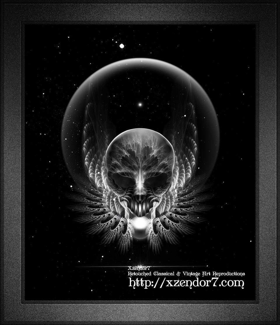 Gothic Wing Feitan Skull Fractal Art
