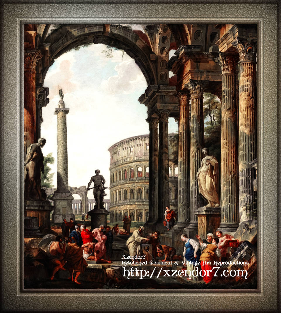 An Architectural Roman Capriccio With The Philosopher Diogenes by Giovanni Paolo Panini