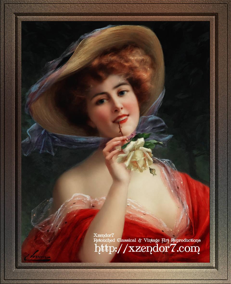 Fille A La Rose Jaune by Émile Vernon