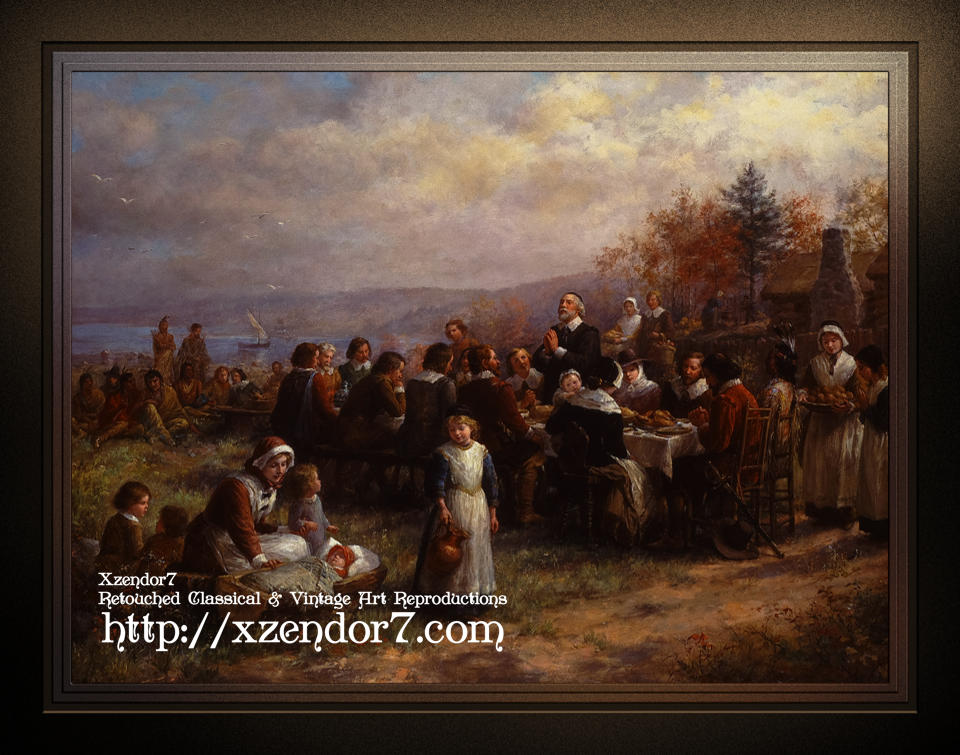 Thanksgiving at Plymouth by Jennie Augusta Brownscombe