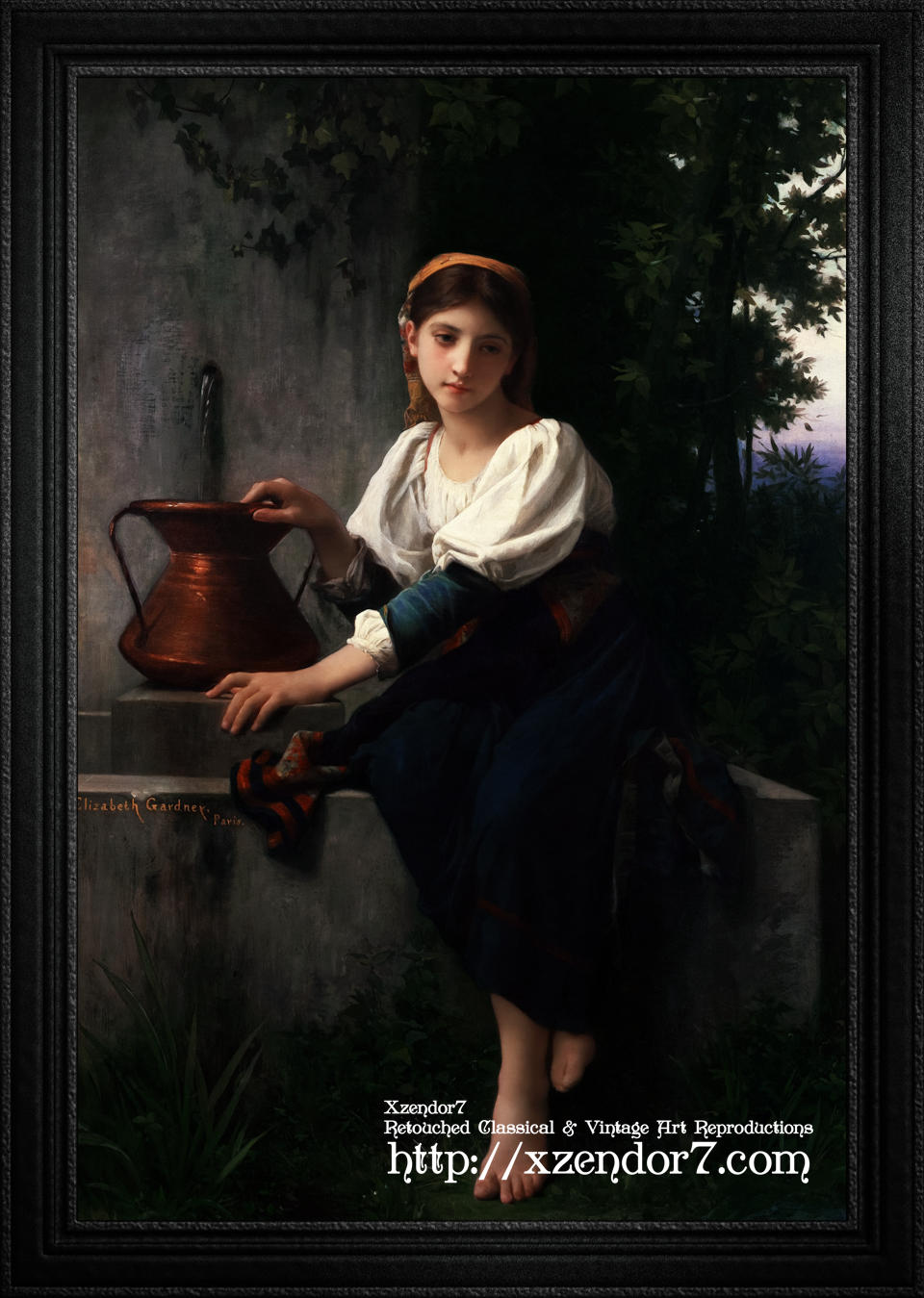 Young Girl Gathering Water At The Fountain by Elizabeth Jane Gardner Bouguereau