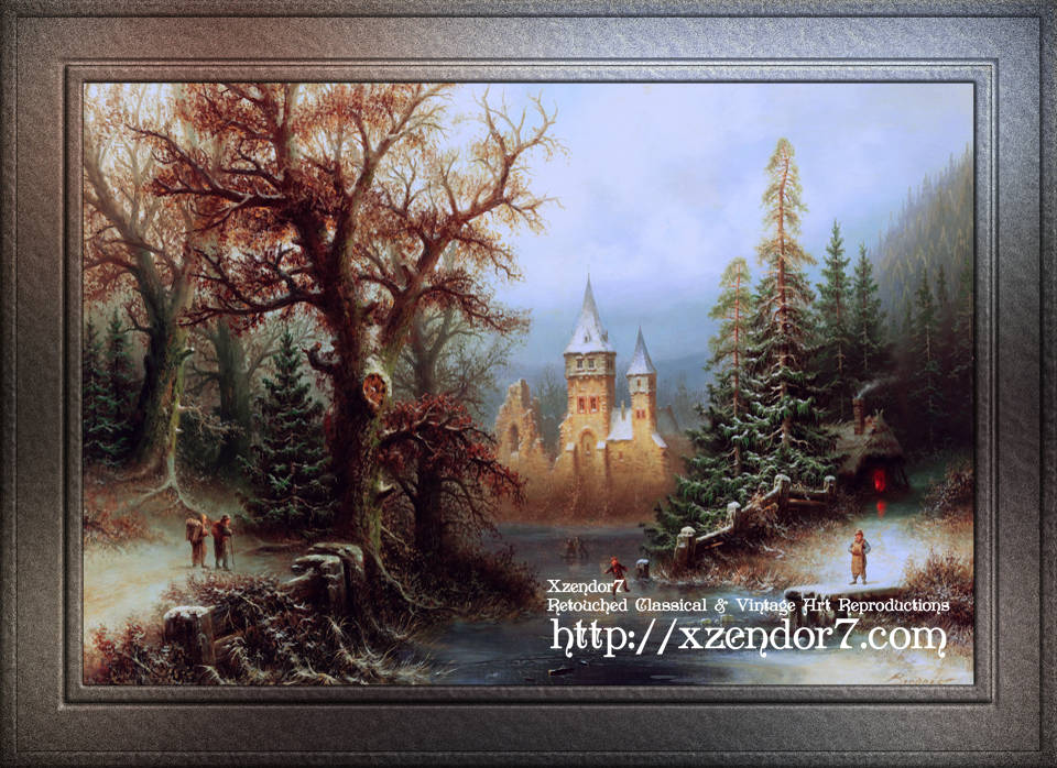 Romantic Winter Landscape with Ice Skaters by Albert Bredow