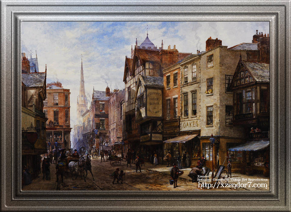 Chester - The Cross Looking Towards Watergate Street by Louise Ingram Rayner