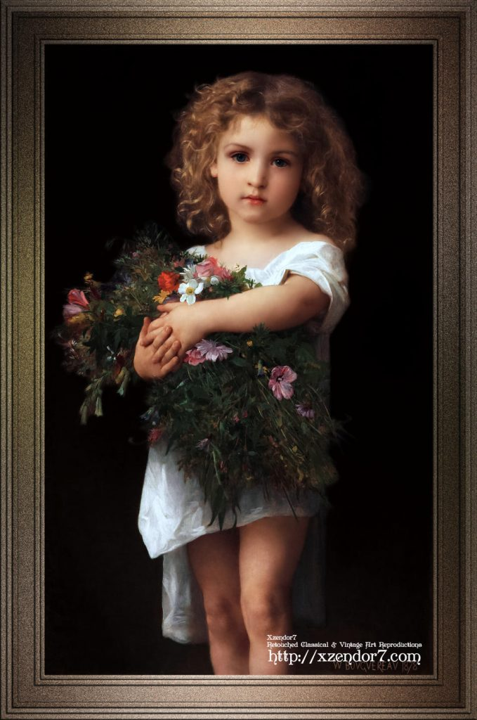 Little Girl With Flowers by William-Adolphe Bouguereau