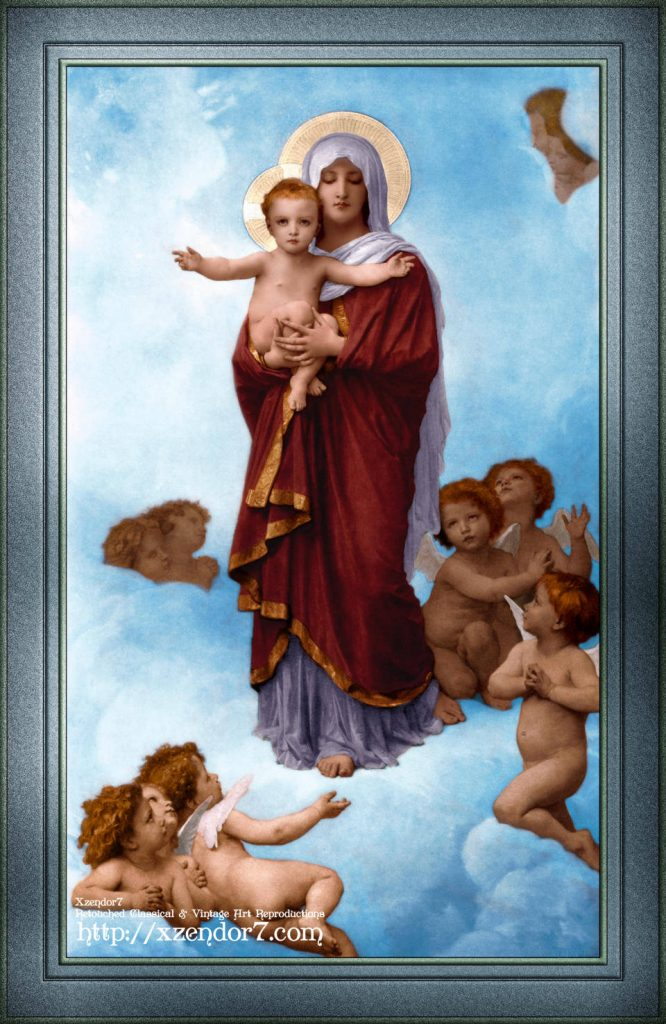 Our Lady of the Angels by William-Adolphe Bouguereau Colorized