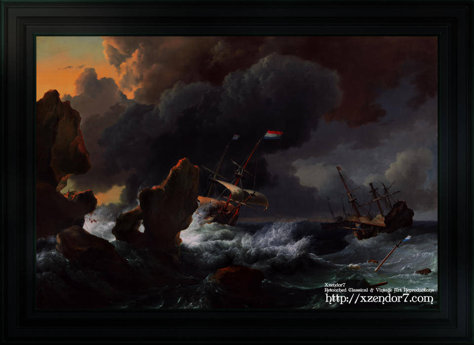 Ships In Distress Off A Rocky Coast by Ludolf Bakhuizen