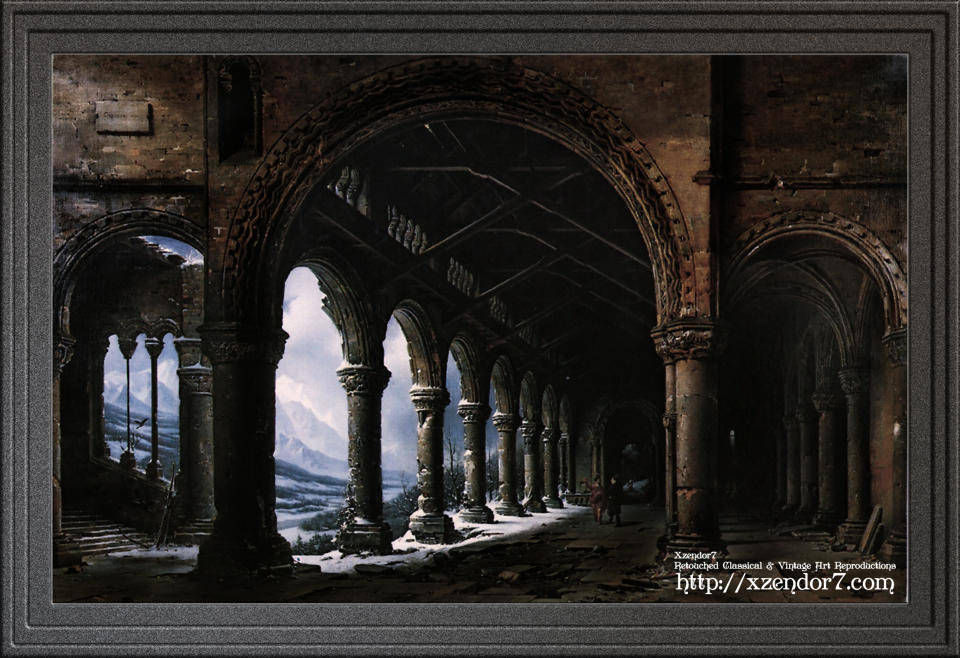 A Ruined Gothic Colonnade by Louis Daguerre