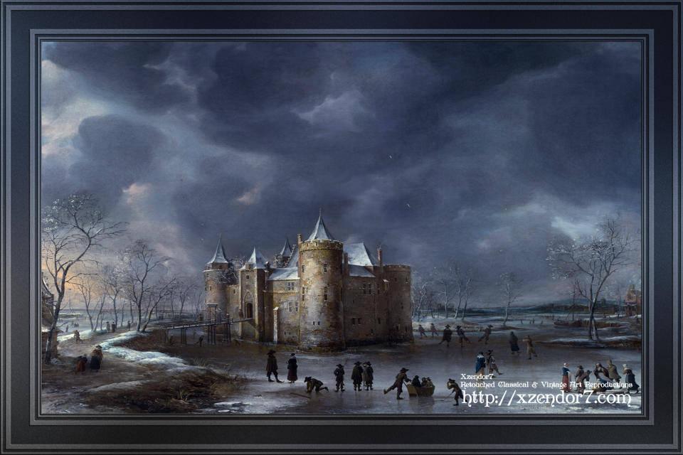 The Castle Of Muiden In Winter by Jan Abrahamsz Beerstraate