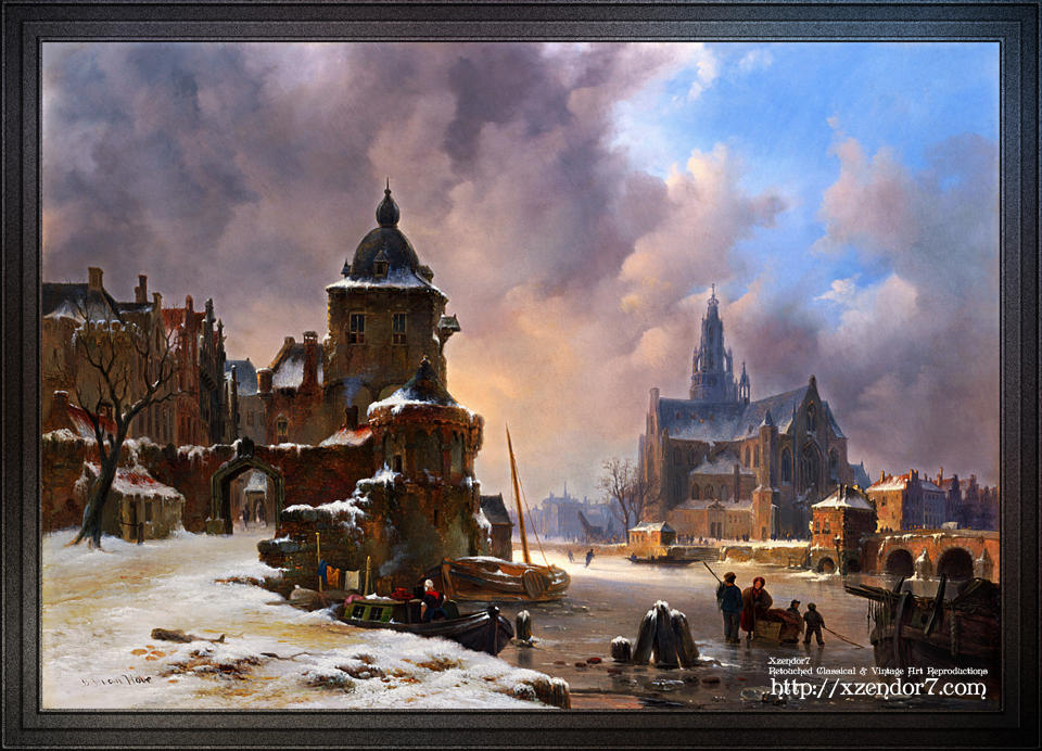 Winter Cityscape With Frozen River by Bartholomeus van Hove
