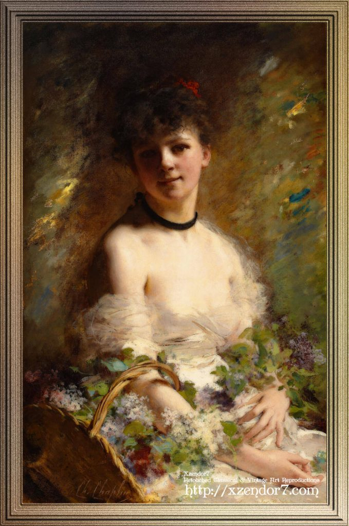 Young Woman with Flower Basket by Charles Joshua Chaplin