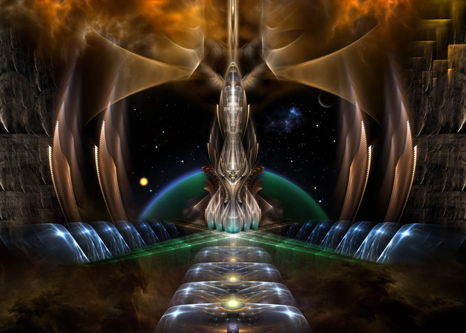 Light Spear - The Cyrineous Probe Fractal Art Composition